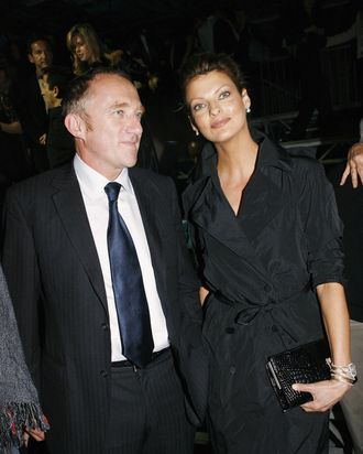 Pinault and Evangelista at the Alexander McQueen show in 2005.