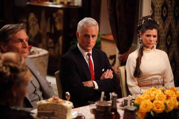 Roger Sterling (John Slattery) and Jane Sterling (Peyton List) - Mad Men - Season 5, Episode 6 - Photo Credit: Jordin Althaus