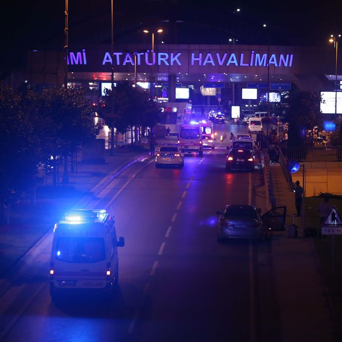 Police blocks the entrance of the Ataturk International Airport after an explosion, in Istanbul, Turkey on June 28, 2016. Unspecified number of injured in explosion at Istanbul's Ataturk International Airport.