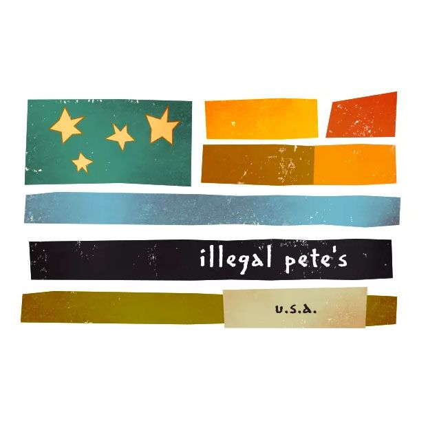 Illegal Pete's very American-flag-esque logo.