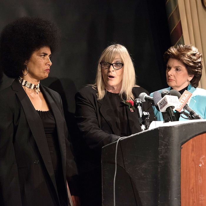 Actress Lili Bernard and writer Sammie Mays with lawyer Gloria Allred, at a press conference in New York City in May.