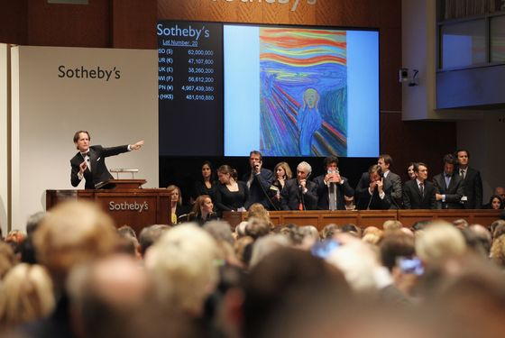 NEW YORK, NY - MAY 02:   Edvard Munch's 'The Scream' is auctioned at Sotheby's May 2012 Sales of Impressionist, Modern and Contemporary Art on May 2, 2012 in New York City. The masterpiece is one of four versions created by Munch and the only one that is privately owned. The masterpiece sold for over $119 million.   (Photo by Mario Tama/Getty Images)