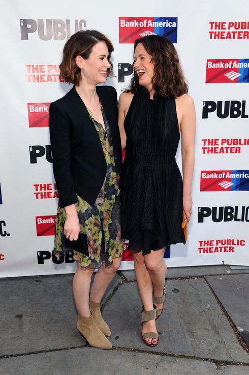 "Sarah Paulson and Elizabeth Reaser attend The Public Theater's opening night of ""Much Ado About Nothing"" at Delacorte Theater on June 16, 2014 in New York City."