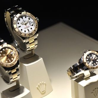 BASEL, SWITZERLAND - MARCH 13: Rolex watches are displayed at BASELWORLD 2012 - The World Watch And Jewellery Show on March 13, 2012 in Basel, Switzerland. (Photo by The Image Gate/Getty Images)