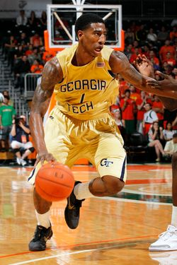 CORAL GABLES, FL - FEBRUARY 3: Iman Shumpert #1 of the Georgia Tech Yellow Jackets dribbles the ball against the Miami Hurricanes on February 3, 2011 at the BankUnited Center in Coral Gables, Florida. Miami defeated Georgia Tech 59-57. (Photo by Joel Auerbach/Getty Images)