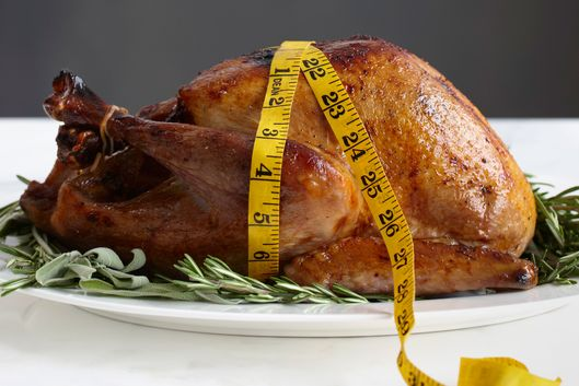 Roasted Turkey on Platter with Measuring Tape