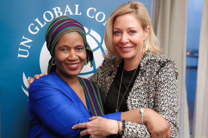 Nadja Swarovski with Phumzile Mlambo-Ngcuka, executive director of UN Women and under-secretary-general of the United Nations.