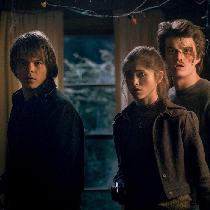 Charlie Heaton as Jonathan, Natalia Dyer as Nancy, Joe Keery as Steve.