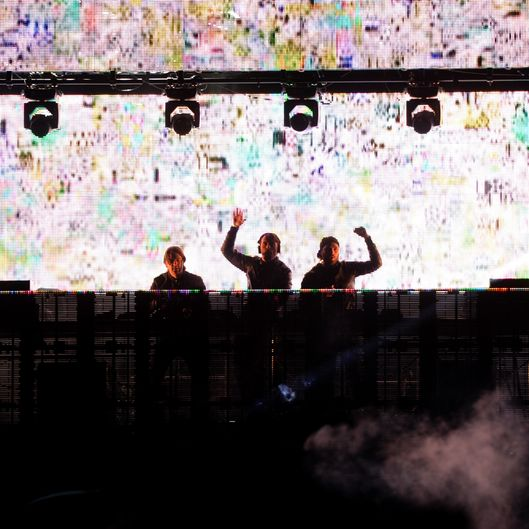 INDIO, CA - APRIL 13:  DJ group Swedish House Mafia spins onstage during day 1 of the 2012 Coachella Valley Music & Arts Festival at the Empire Polo Field on April 13, 2012 in Indio, California.  (Photo by Kevin Winter/Getty Images for Coachella)