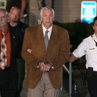 BELLEFONTE, PA - JUNE 22: Former Penn State assistant football coach Jerry Sandusky, leaves court in handcuffs after being convicted in his child sex abuse trial at the Centre County Courthouse on June 22, 2012 in Bellefonte, Pennsylvania. The jury found Sandusky guilty on 45 of 48 counts in the sexual abuse trial of the former Penn State assistant football coach, who was charged with sexual abuse of 10 boys over a 15-year period. (Photo by Mark Wilson/Getty Images)