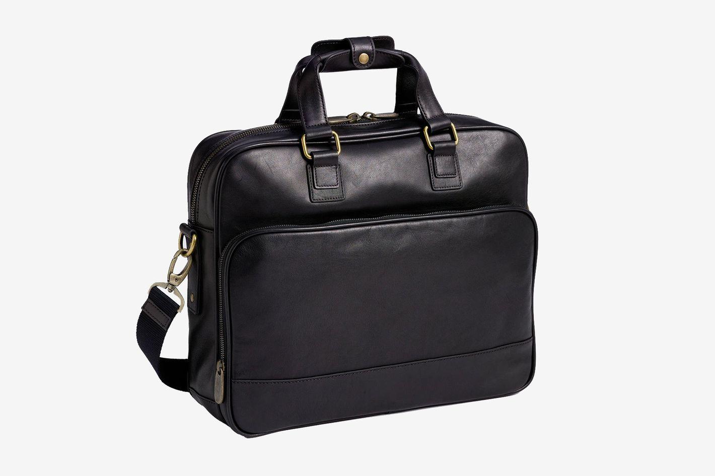 Bosca Top-Zip Leather Briefcase