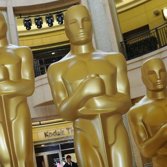Oscar statues at the Kodak Theatre, which is the site of the Sundays 83rd Academy Awards in Hollywood, on February 26, 2011. Hollywood is bracing for the climax of its annual awards season this weekend, with British drama