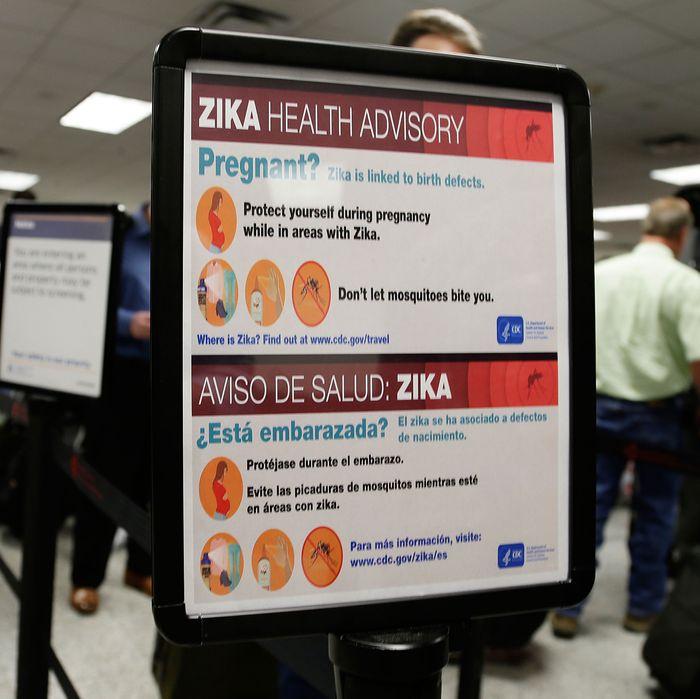 Zika advisory in an airport.