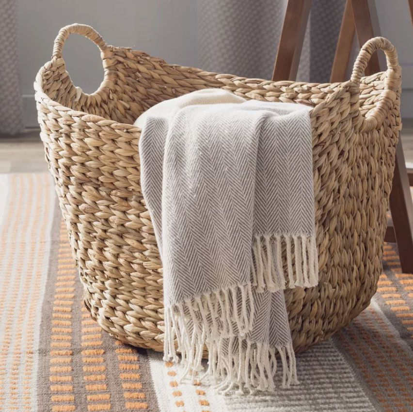 The Twillery Co. Tall Water Hyacinth Wicker Basket With Handles