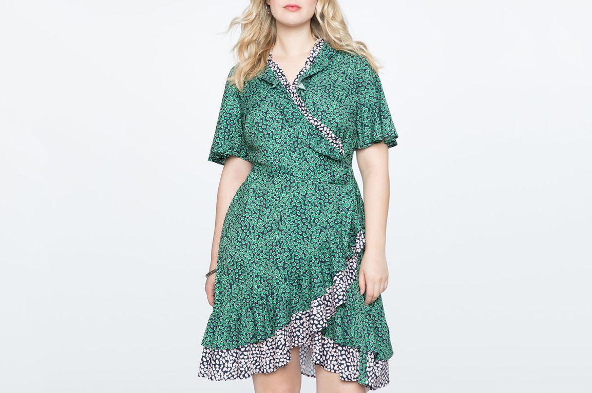 Eloquii Contrast Ruffle Wrap Dress