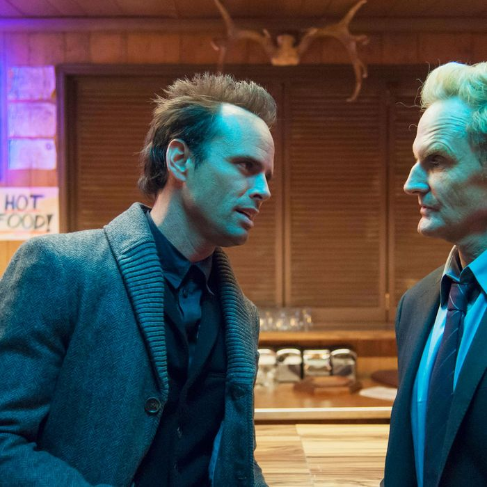JUSTIFIED -- Kin -- Episode 5 (Airs Tuesday, February 5, 10:00 pm e/p) -- Pictured: (L-R) Walton Goggins as Boyd Crowder, Jere Burns as Wynn Duffy
