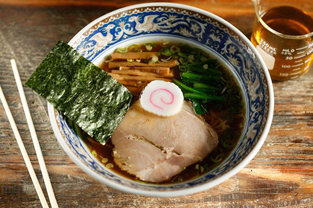 Nakamura's yuzu ramen with chashu, menma, spinach, and shoyu tare.