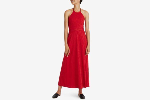 Madewell Halter Tie Back Midi Dress