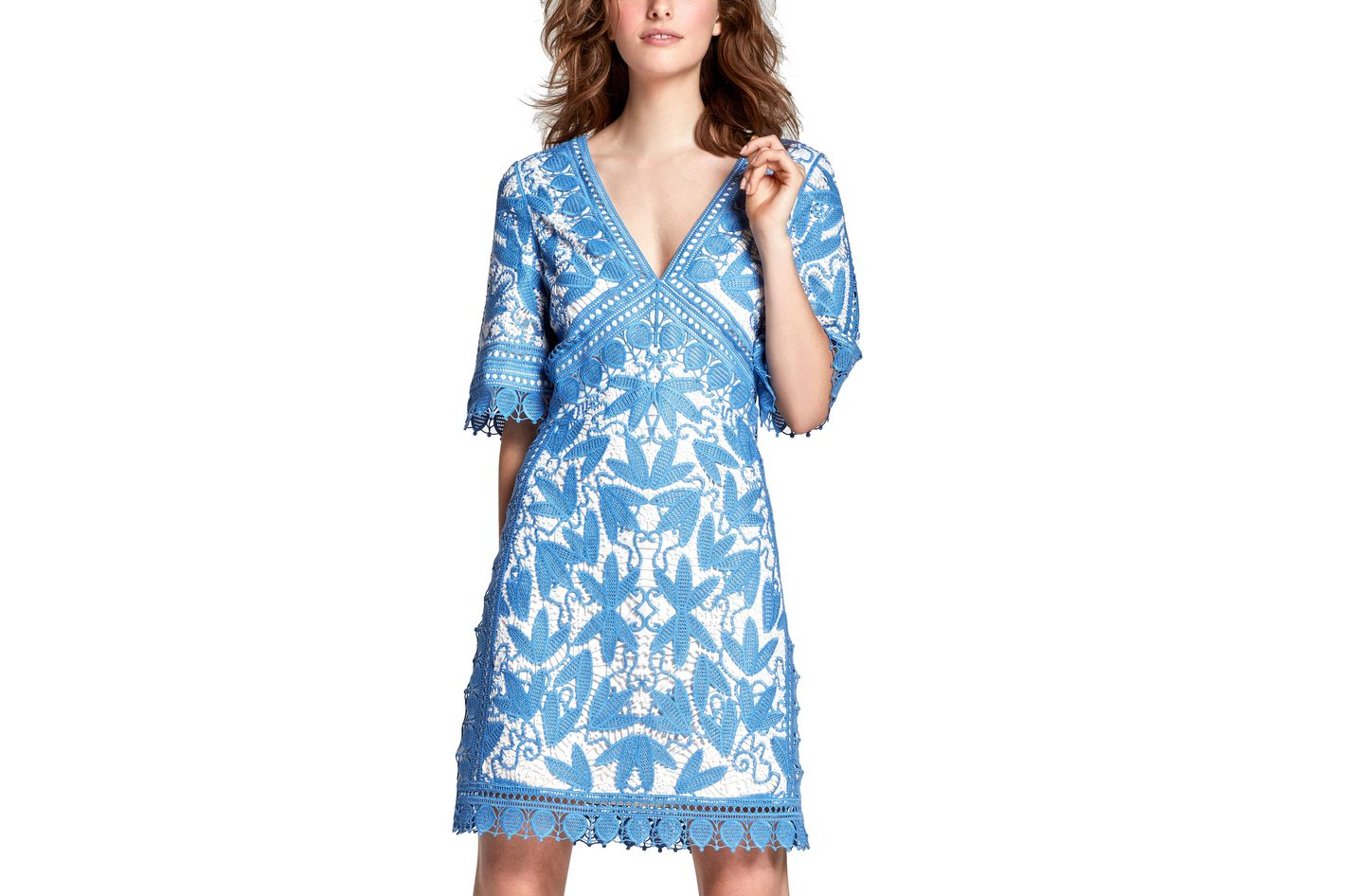 Tory Burch Embroidered Macrame Half-Sleeve Dress