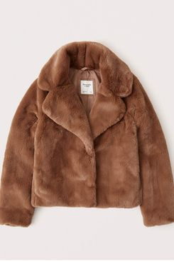 Abercrombie & Fitch Faux Fur Cropped Coat