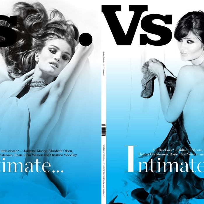 Rosie Huntington-Whiteley and Helena Christensen on Vs. magazine.