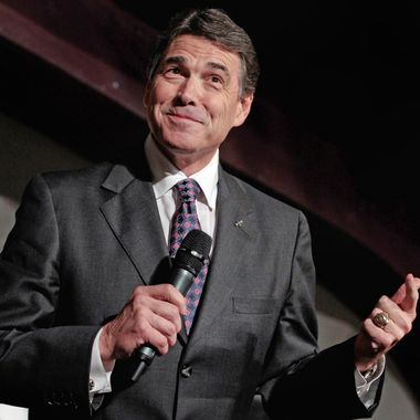 WATERLOO, IA - AUGUST 14:  Republican presidential candidate and Texas Governor Rick Perry addresses the Blackhawk County Republican annual Lincoln Day Dinner at the Electric Park Ballroom August 14, 2011 in Waterloo, Iowa. Perry is in Iowa after announcing his candidacy for president a day earlier.  (Photo by Chip Somodevilla/Getty Images)