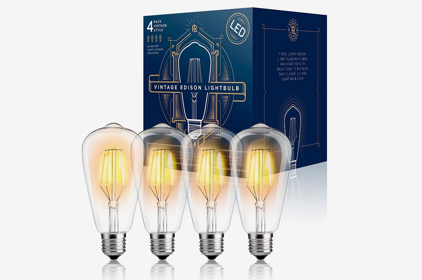 Gordon & Bond Filament Edison Dimmable LED Light Bulb (4 Pack)