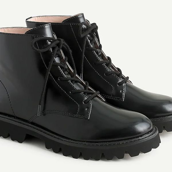 J.Crew Lug Sole Lace-Up Leather Boots