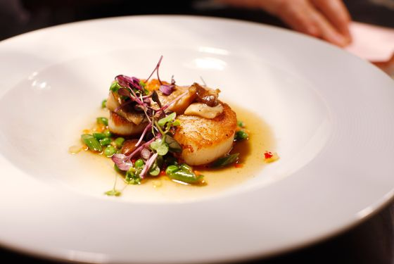 Seared scallops.