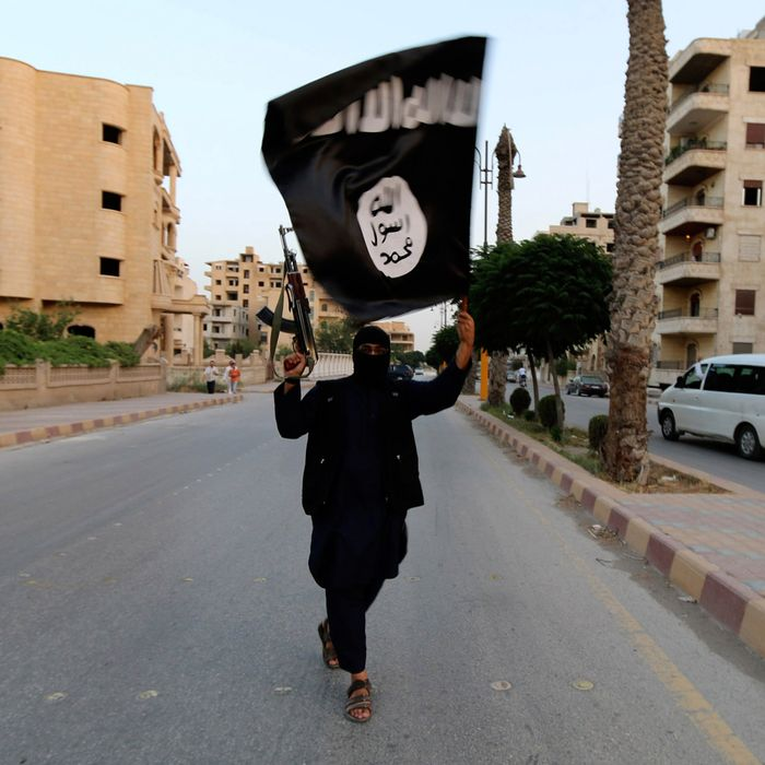 A member loyal to the Islamic State in Iraq and the Levant (ISIL) waves an ISIL flag in Raqqa June 29, 2014.