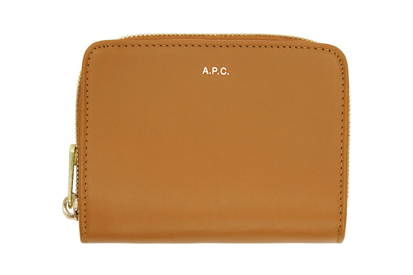 A.P.C.  Tan Compact Zipped Wallet