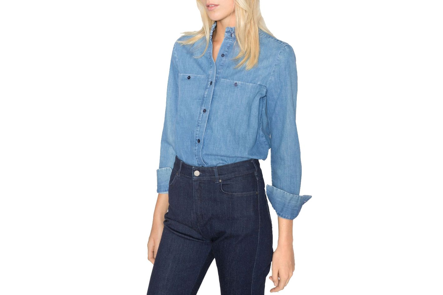 & Other Stories Ruffle Collar Chambray Shirt