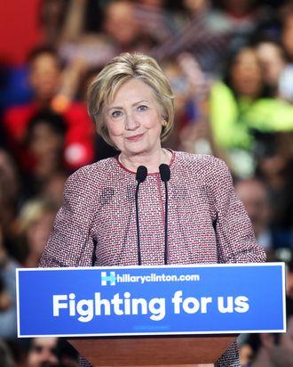 Hillary Clinton wears a Giorgio Armani jacket in April.