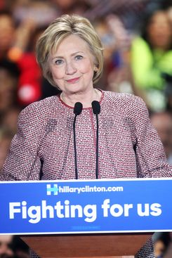 Hillary Clinton wears a Giorgio Armani jacket in April.