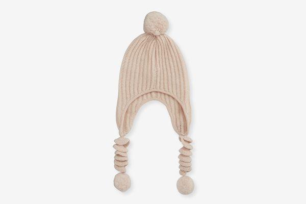 Sofia Cashmere Knit Corkscrew Baby Trapper Hat w/ Pompoms