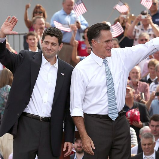 Republican presidential candidate, former Massachusetts Gov. Mitt Romney (R) and U.S. Rep. Paul Ryan (R-WI) wave as Ryan is announced as his vice presidential running mate in front of the USS Wisconsin August 11, 2012 in Norfolk, Virginia. Ryan, a seven term congressman, is Chairman of the House Budget Committee and provides a strong contrast to the Obama administration on fiscal policy.