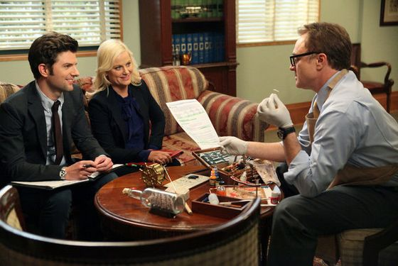"PARKS AND RECREATION -- ""Live Ammo"" Episode 419 -- Pictured: (l-r) Adam Scott as Ben Wyatt,"