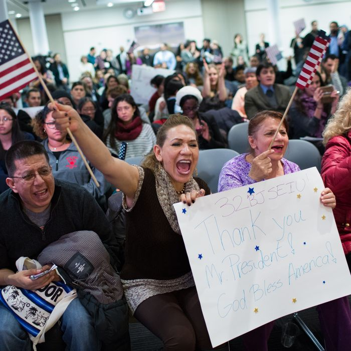 NEW YORK, NY - NOVEMBER 20: Lilian Aguayo (L), Fadila Mrkulic and Tatiana Lambert hold signs and wave flags at the offices of 32BJ SEIU, a workers union, during a viewing party for U.S. President Barack Obama's speech on evecutive action immigration policy reform on November 20, 2014 in New York City. In his announcement, the president detailed his plans to take executive action to provide administrative relief to millions of immigrants. (Photo by Kevin Hagen/Getty Images)