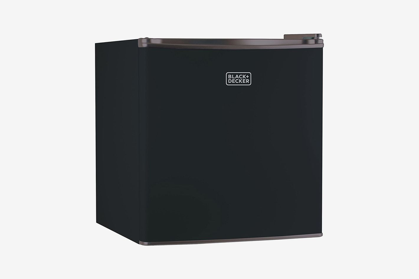 A small, cubic and black mini fridge with a gray trim on top