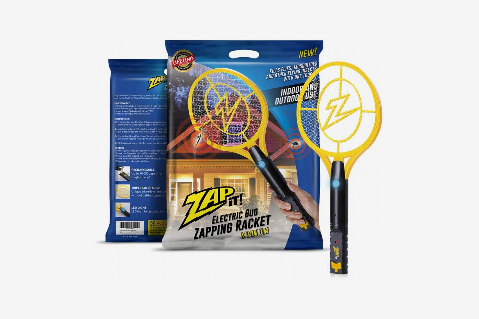 ZAP IT! Electric Bug Zapper Racket with LED Light and USB Charging