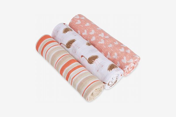 aden + anais 3 Piece Classic Swaddle Baby Blanket, Flock Together