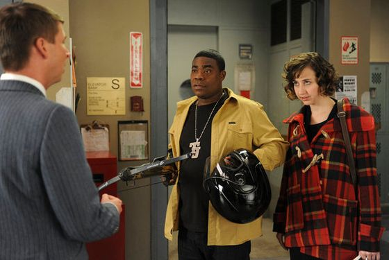 "30 ROCK -- ""Grandmentor"" Episode 613 -- Pictured: (l-r) Jack McBrayer as Kenneth Parcell, Tracy Morgan as Tracy Jordan, Kristen Schaal as Hazel -- (Photo by: Ali Goldstein/NBC)"