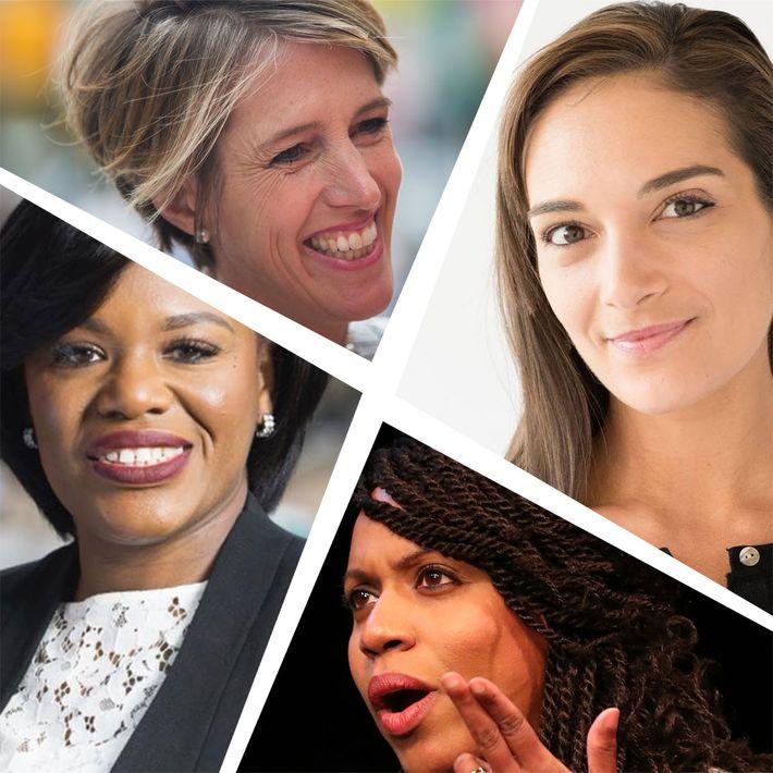 Clockwise from top left: Zephyr Teachout, Julia Salazar, Ayana Pressley, Cori Bush.