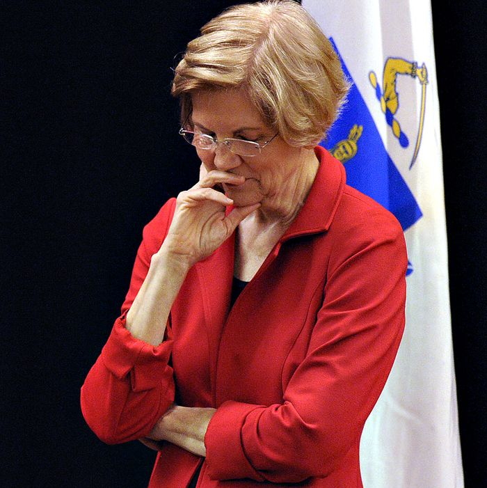 US Senator Elizabeth Warren (D-MA) listens during a town hall meeting in Roxbury, Massachusetts, October 13, 2018.