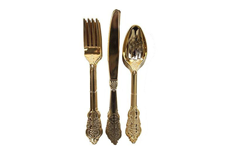 Talking Tables 18-Piece Porcelain Disposable Party Cutlery Set, Gold