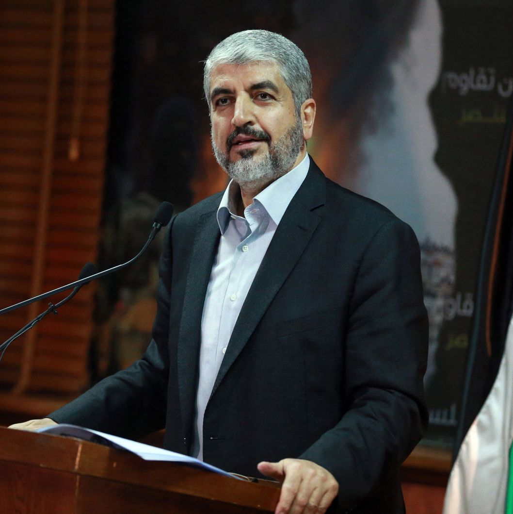 Hamas political chief Khaled Meshaal speaks during a press conference in Doha, Qatar on July 23, 2014.