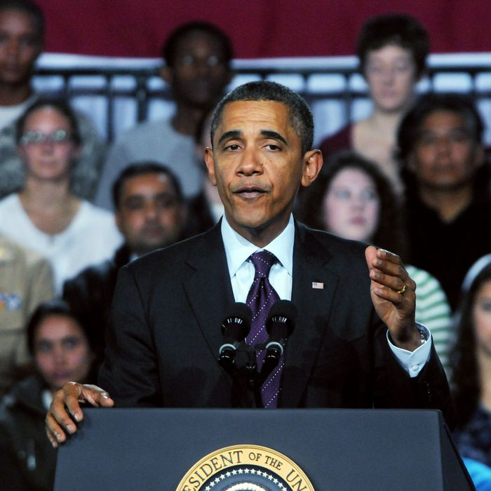 U.S. President Barack Obama speaks at Manchester Central High School November 22, 201 in Manchester, New Hampshire. Obama spoke about job creation and prevneting a payroll tax hike at the end of th year.