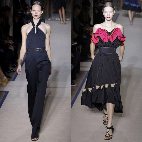 "Following a popular YSL retrospective exhibit at Paris's Petit Palais (Pilati was <a href=""http://nymag.com/daily/fashion/2012/02/stefano-pilati-out-at-ysl.html"">scandalously excluded</a> from the opening gala by Pierre Berge, who disapproved of Pilati's designs), Pilati's spring 2011 show was said to be a comprehensive tribute to the late designer. Mostly a careful study in sleek, classical shapes rendered in various shades of navy, the collection was punctuated with a few celebratory flourishes like this fucshia ruffle. Critics adored it.  <a href=""http://nymag.com/fashion/fashionshows/2011/spring/main/europe/womenrunway/yvessaintlaurent/"">See the Complete Spring 2011 YSL Collection</a>"