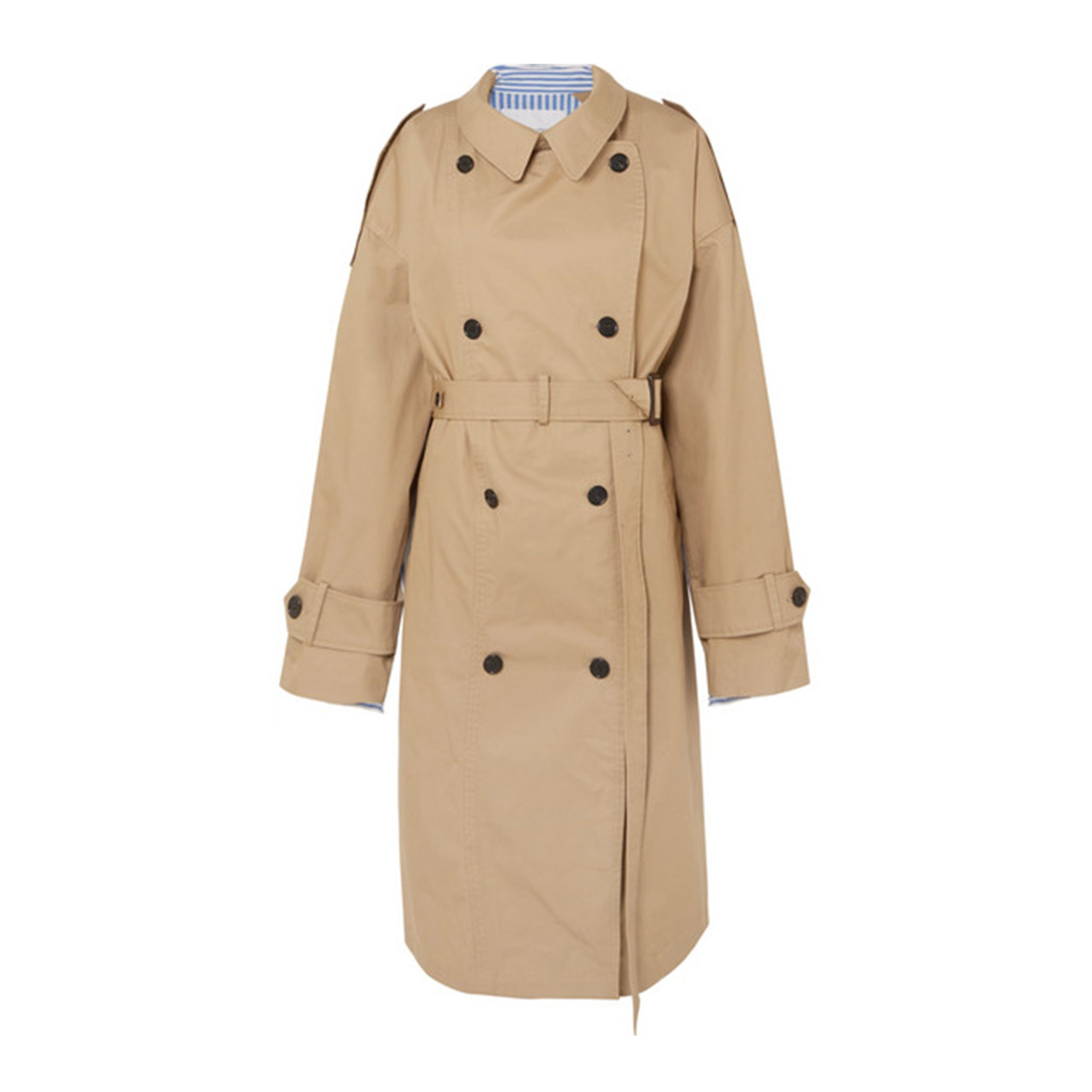Oversized cotton-gabardine and striped poplin trench coat