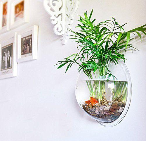 PRUGNA Wall-Hanging Fish Bowl Acrylic Wall-Mounted Plant Pot 1 Gallon Fish Tank